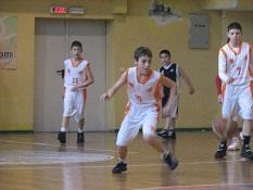 kids play basketball